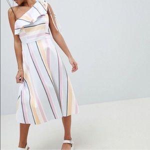 ASOS Petite One-Shoulder Pastel Stripe Midi Dress